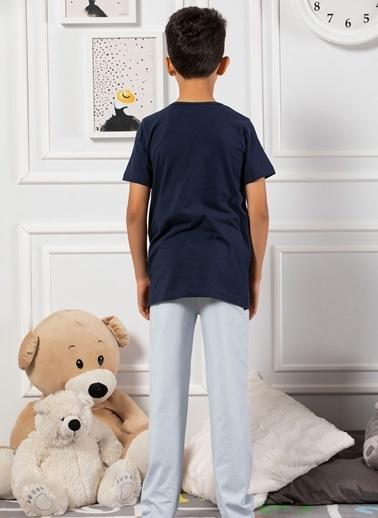 Elitol Pamuklu Likralı Erkek Çocuk Pijama Takım Lacivert